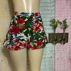 Lush High Waisted Tropical Flora Linen Shorts